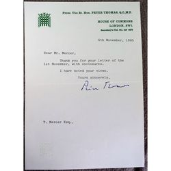 Peter Thomas, Baron Thomas of Gwydir, Signed 1985 Letter