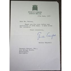 Gordon Campbell, Baron Campbell of Croy Signed 1973 letter