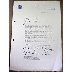 Matthew Parris 1978 Signed Letter Margaret Thatcher Leader of Opposition