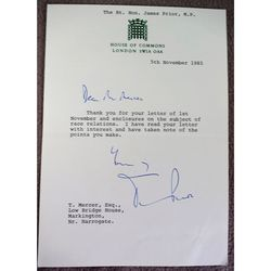 James (Jim) Prior MP (1927-2016) Signed 1985 Letter