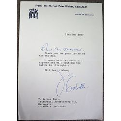 Peter Walker, Baron Walker of Worcester Signed 1977 letter