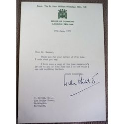 William Whitelaw, 1st Viscount Whitelaw Signed 1973 letter