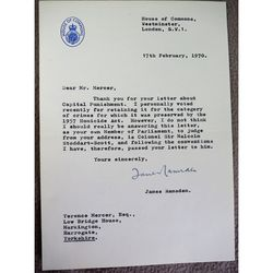 James Ramsden M.P. Harrogate Signed 1970 letter