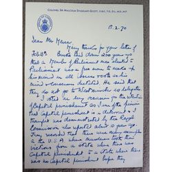 Colonel Sir Malcolm Stoddart-Scott M.P. Ripon Signed 1973 Letter