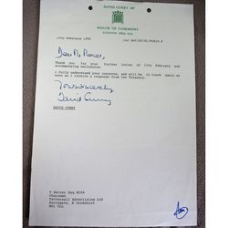 David Curry MP Skipton & Ripon 1992 Signed Letter