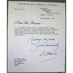 Alfred Robens, Baron Robens of Woldingham Signed 1975 letter
