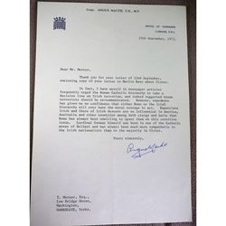 Angus Maude MP Stratford-on-Avon Signed 1975 Letter