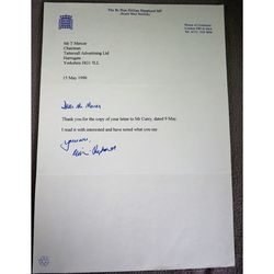 Gillian Patricia Shephard ex MP South West Norfolk Signed 1996 Letter