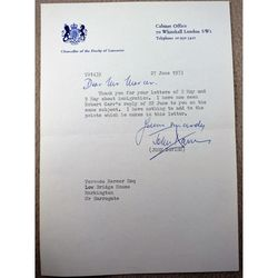 John Davies MP Knutsford Signed 1973 Letter