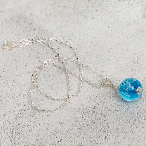 Aqua Cremation Glass Pendant