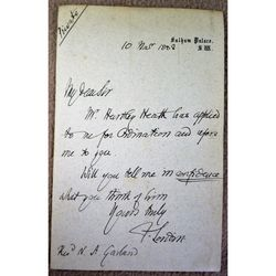 Frederick Temple Bishop of London Signed 1888 Letter