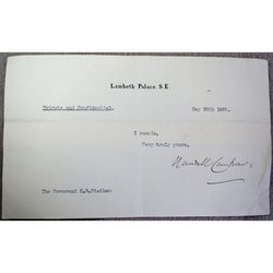 Randall  Davidson Archbishop of Canterbury Signed 1925 letter clip