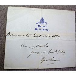 George Moberly Bishop of Salisbury Signed 1879 letter clip
