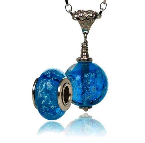 Aqua Cremation Glass Charm