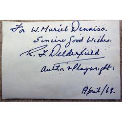 Ronald Frederick Delderfield 1968 Autograph