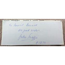 John Snagge BBC Radio Broadcaster Autograph Clip