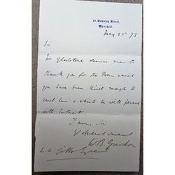 Sir William Brampton Gurdon Private Sec W E Gladstone Signed 1873 Letter
