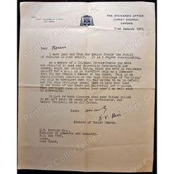 Lieut. Colonel D V Hill Steward of Christ Church 1953 Signed Letter