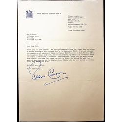 Patrick Cormack FSA MP Signed 1991 Letter re Pig Husbandry