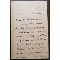 H M Dockyard Portsmouth Signed Letter Unidentified Addressed to Cunningham