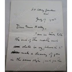 Lewis Baumer Signed 1905 Letter (caricaturist and painter)