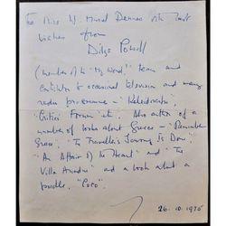 Dilys Powell (1901-1995) 1975 Autograph