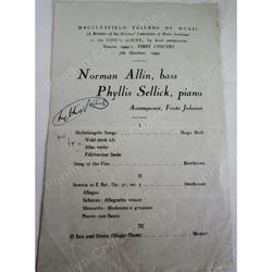 Phyllis Sellick, Pianist, signed 1944 Programme Macclesfield Friends of Music
