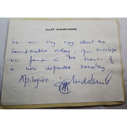 Cliff Michelmore Autograph on Headed Paper