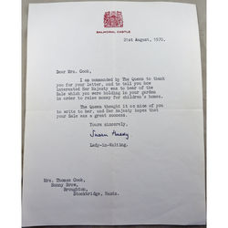 Balmoral Castle 1970 Letter Signed by Susan Hussey Lady-in-Waiting