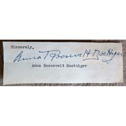 Anna Eleanor Roosevelt Dall Boettiger Halsted Signed  Letter Clip