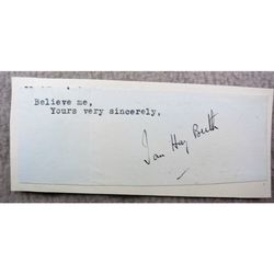 Major General John (Ian) Hay Beith MC Signed letter Clip