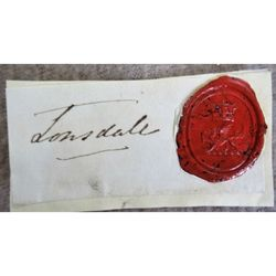 Earl of Lonsdale Wax seal (Crown/Lowther dragon) with Signature