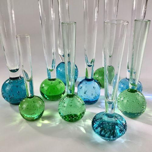 Smart set of 10 Mid 20th Century bud vases