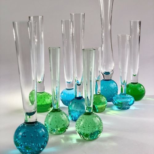 Smart set of 10 Mid 20th Century bud vases