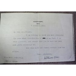 William Temple Archbishop of York 1933 Signed letter