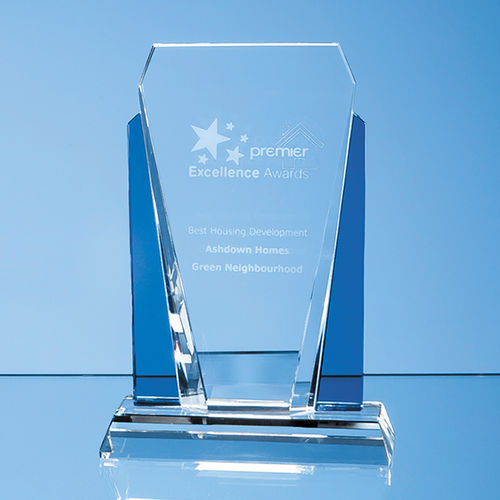 Clear and Sapphire Blue Optical Crystal Sentinel Award