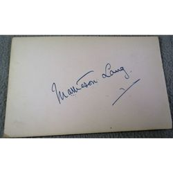 Matheson Lang, Canadian born Stage and film Actor Autograph
