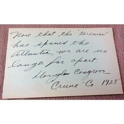 Douglas Cosgrove Actor 1928 Autograph