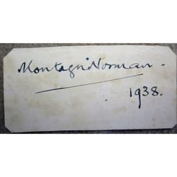 Montagu Norman Governor Bank of England 1938 Autograph clip