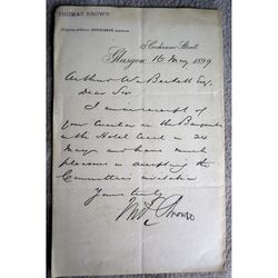 Thomas Brown (Draper?) 57 Cochrane St Glasgow Signed 1899 Letter