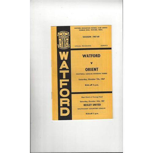 1967/68 Watford v Leyton Orient Football Programme