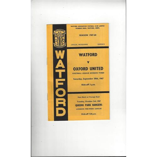 1967/68 Watford v Oxford United Football Programme