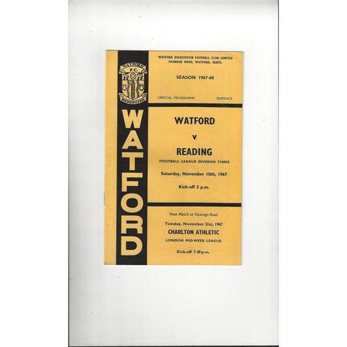 1967/68 Watford v Reading Football Programme