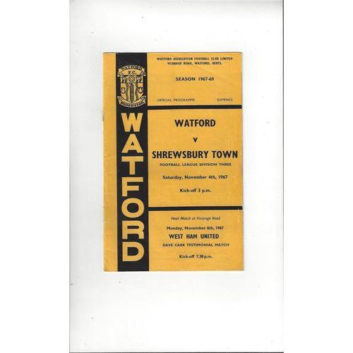1967/68 Watford v Shrewsbury Town Football Programme