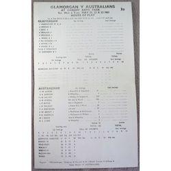 Glamorgan V Australians Cardiff Arms Park 1961 Scorecard
