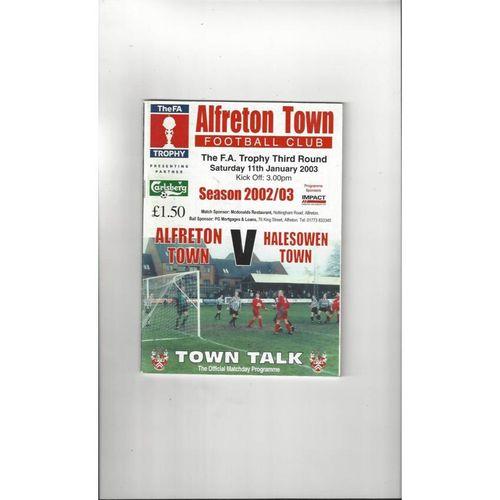 2002/03 Alfreton Town v Halesowen Town FA Trophy Football Programme