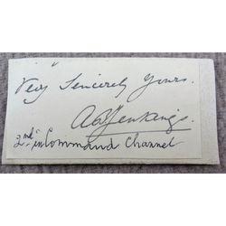 Admiral Albert Baldwin Jenkings, RN Signed Letter Clip