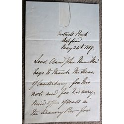 Lord Claud John Hamilton 1869 Handwritten Letter to Dean of Canterbury
