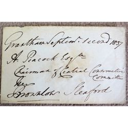 John Cust, 1st Earl Brownlow,(1779-1853) Signed 1837 Envelope
