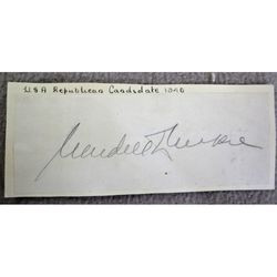 Wendell Lewis Wilkie Autograph + Duke of Palmella (1943?)